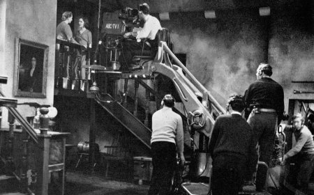 The camera moves in to shoot an Armchair Theatre scene.