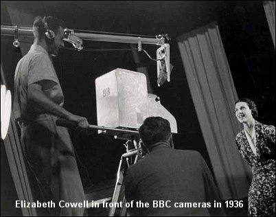 Elizabeth Cowell in front of the BBC cameras - 1936.